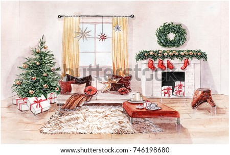 Watercolor Illustration Of Christmas Interior Living Room With Fireplace Sofa Pillows