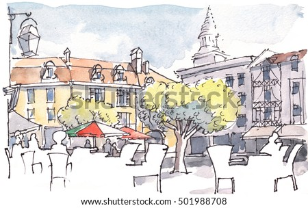Watercolor Illustration of City Cafe on a Southern European Piazza in the Summer