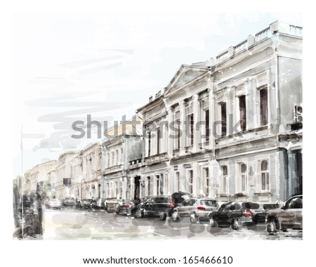 watercolor illustration of city scape - stock photo