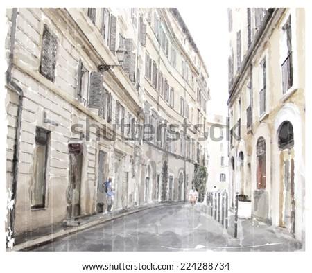 watercolor illustration of city scape.  - stock photo