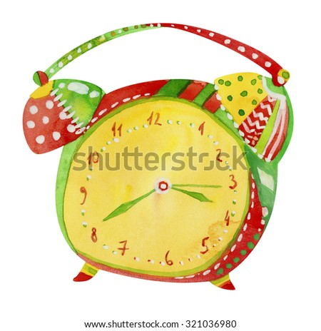 Watercolor illustration of colorful alarm clock isolated on white background - stock photo