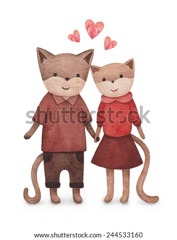 Watercolor illustration of cute cats. Perfect for Valentine greeting card - stock photo