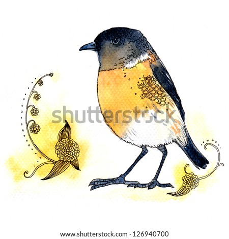 Watercolor illustration of cute yellow bird on white background - stock photo