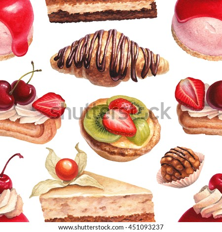 Watercolor illustration of desserts. Seamless pattern