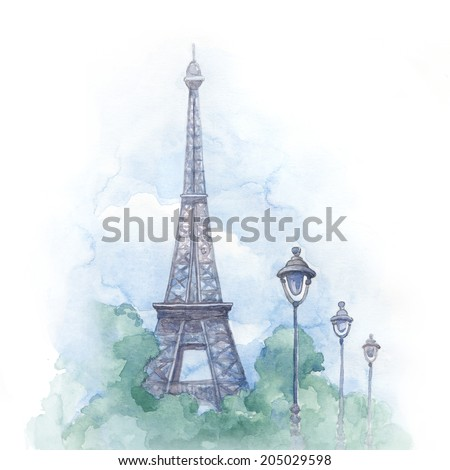 Watercolor illustration of eiffel tower  - stock photo