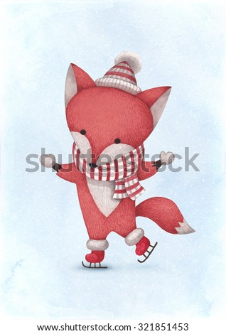 Watercolor illustration of fox. Perfect for Christmas greeting card