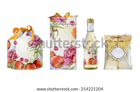 Watercolor illustration of gift box with peaches, raspberries and peonies. In the composition of the two boxes with ribbons, a bottle of lemonade and a paper bag. - stock photo