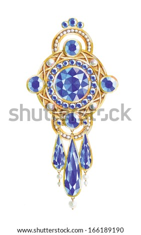 Watercolor illustration of jewelry. - stock photo