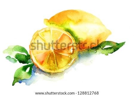 Watercolor illustration of Lemon - stock photo