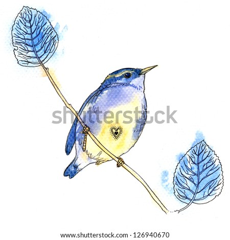 Watercolor illustration of little blue bird on white background - stock photo