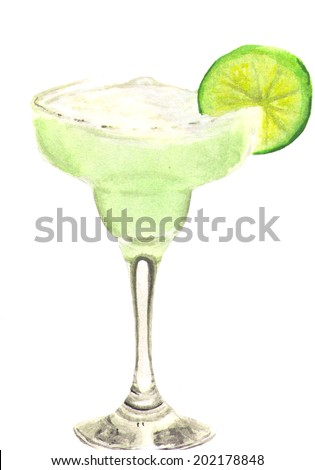 Watercolor illustration of margarita cocktail