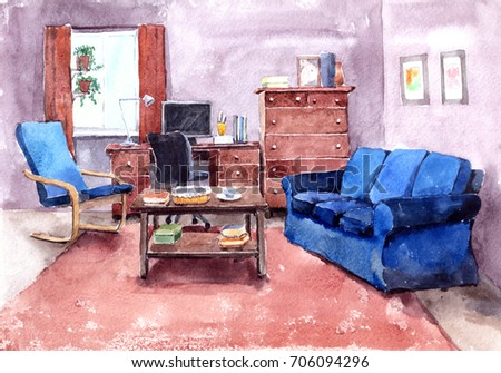 Watercolor Illustration Modern Living Room Furniture Stock ...
