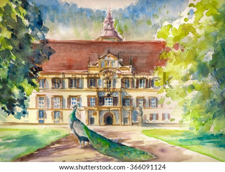 Watercolor illustration of peacock in park and front facade of the Eggenberg castle in Graz, Styria, Austria