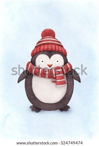 Watercolor illustration of penguin. Perfect for Christmas greeting card - stock photo