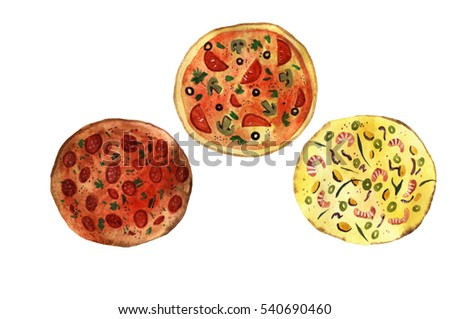 Watercolor illustration of pizza, hand painted illustration isolated on white background