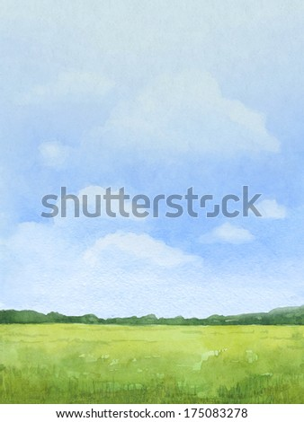 Watercolor illustration of rural landscape - stock photo