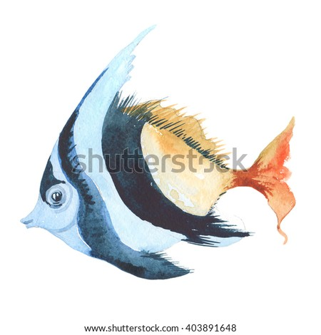 Watercolor illustration of sea fish. Summer holidays raster design element.
