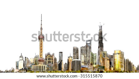 Watercolor Illustration of shanghai,china - stock photo