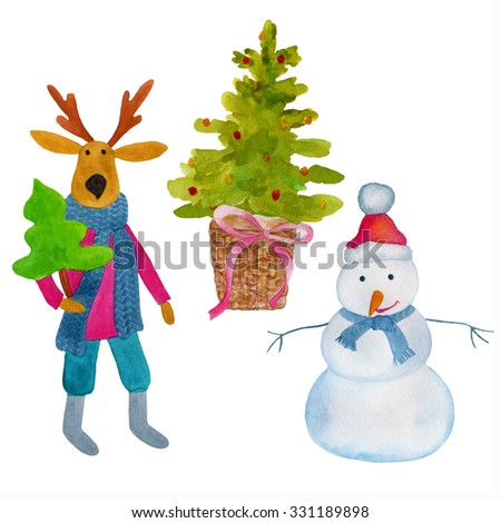 Watercolor illustration of snowman, elk and Christmas tree on a white background. Christmas card. - stock photo