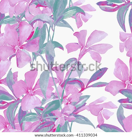 Watercolor illustration of spring field blue flowers