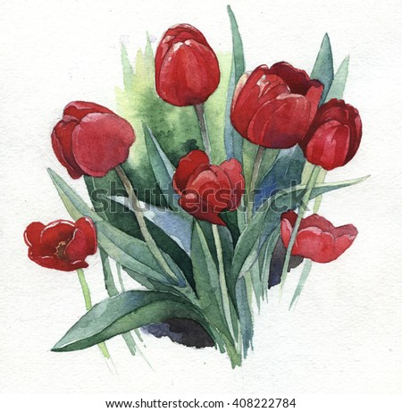 Watercolor illustration of springtime flowers tulips - stock photo