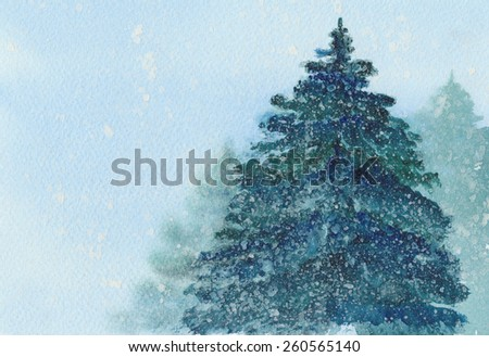 Watercolor illustration of spruce Christmas tree in snow. - stock photo