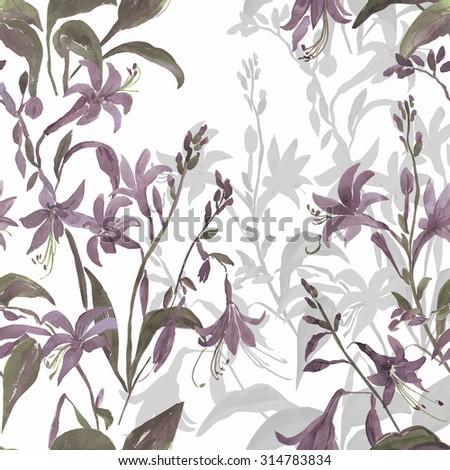 Watercolor illustration of summer garden flowers seamless pattern - stock photo