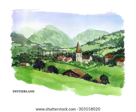 Watercolor illustration of Switzerland sightseeings and seacoast with text place. Good for warm memory postcard design, any graphic design or book illustration. - stock photo