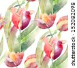 Watercolor illustration of Tulips flowers, seamless pattern - stock photo