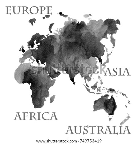 Watercolor illustration world map parts like stock illustration watercolor illustration of world map parts like europe asia africa and australia painted in gumiabroncs Choice Image