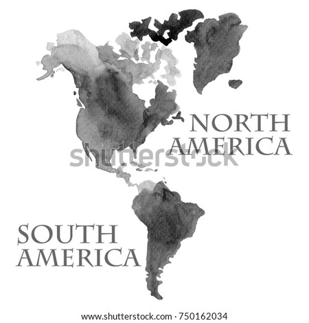 Watercolor illustration world map parts like stock illustration watercolor illustration of world map parts like north and south america painted in black ink color gumiabroncs Choice Image