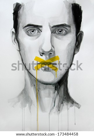 watercolor illustration of young man | handmade | self made | painting  - stock photo