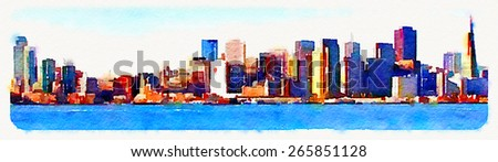 watercolor illustration panoramic san francisco view