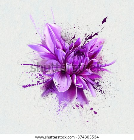 watercolor illustration purple flower, spray paint, closeup isolated on white background - stock photo