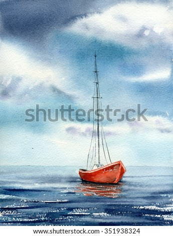 Watercolor illustration red boat