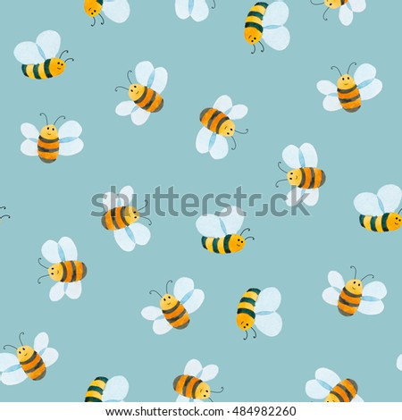 watercolor illustration. Seamless pattern of smiling bee on blue background