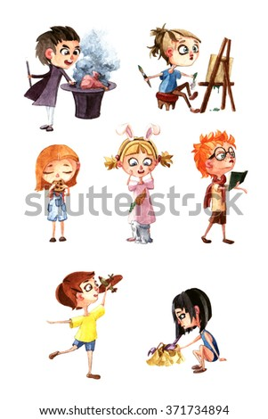 Watercolor illustration set of cartoon children with different activities. Different emotions, expressions and stuff. High resolution hand drawing - stock photo