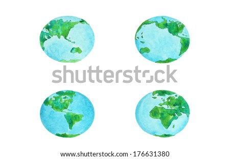 watercolor illustration set of the planet Earth - stock photo