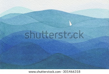Watercolor illustration showing a single white sail in a big blue ocean. - stock photo