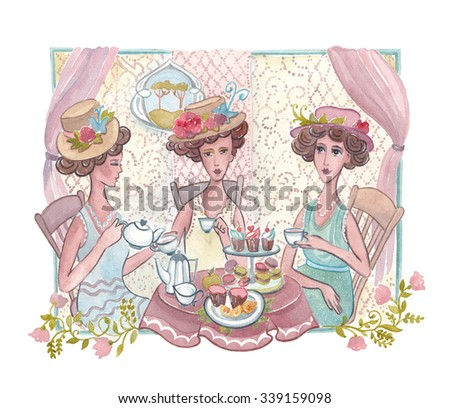 Watercolor illustration. Tea ceremony Franz, English style. Three women sitting at a table drinking tea. 5 o'clock. Traditional celebration. 20 years  - stock photo