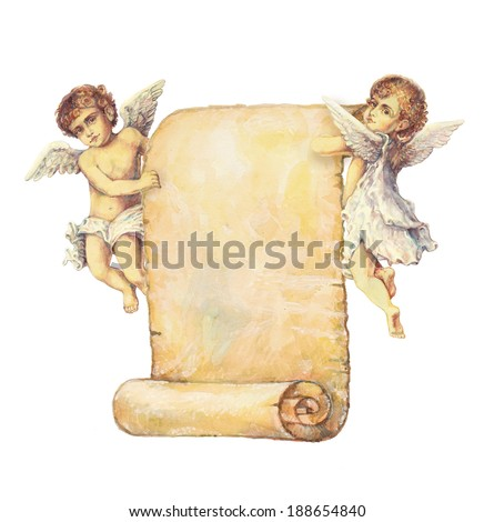Watercolor illustration: two Victorian angels carrying an old paper scroll - stock photo