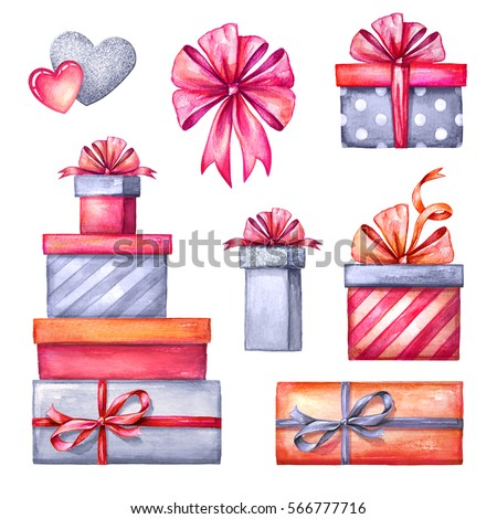 Watercolor illustration valentines day clip art watercolor illustration valentines day clip art set gift boxes party accessories festive negle Gallery
