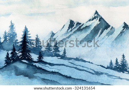 Watercolor illustration. Winter mountains landscape, trees, sky. - stock photo