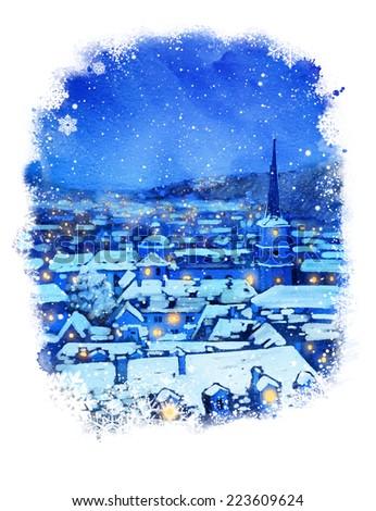 Watercolor illustration. Winter Prague.  - stock photo