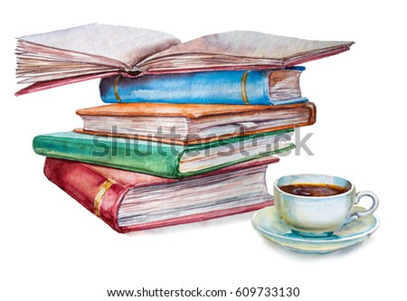 Watercolor Illustration Books Cup Coffee On Stock Illustration ...