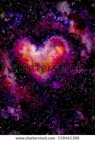 Watercolor Illustration with Bright Red Heart and Outer Space