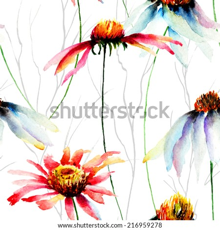 Watercolor illustration with Gerberas flowers, seamless pattern - stock photo