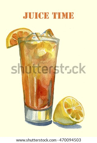 Watercolor illustration with lemon and orange juice.  Fresh healthy vegetarian drink with vitamins.