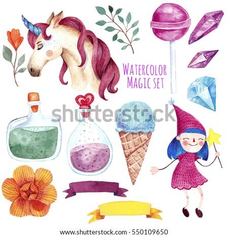 watercolor illustration magical elements cute little stock