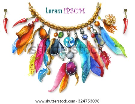 watercolor illustration with necklace in boho style - stock photo